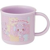 小禮堂 甜夢貓 日本製 單耳塑膠杯 200ml (紫格紋款) 4973307-43078