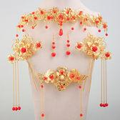中式新娘古裝頭飾發飾頭花紅色金色龍鳳褂秀禾服旗袍結婚飾品包郵【館長推薦】