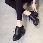高跟鞋女粗跟復古小皮鞋韓版百搭防水台繫帶休閒鞋 黛尼時尚精品