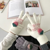 觸屏五指手套冬季保暖加厚毛絨手套可愛【聚寶屋】