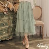 裙子 開衩綁帶層次鬆緊紗裙長裙-Ruby s 露比午茶