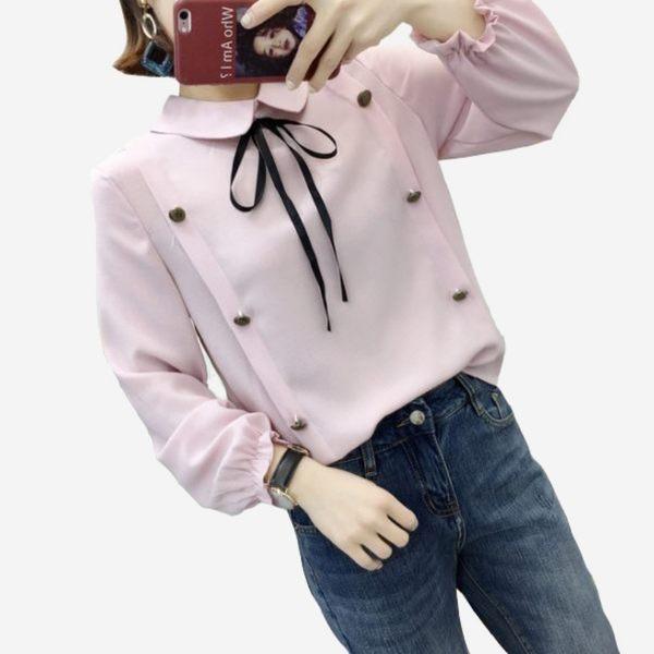 都會OL棉麻翻領雙排釦綁結長袖束口上衣 (白  粉紫  橘紅) 11910054