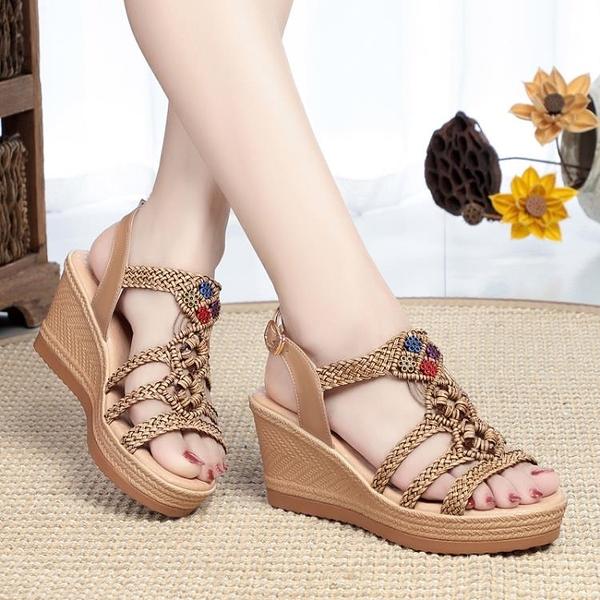 高跟鞋厚底涼鞋女平底鞋仙女風年新款流行女鞋波西米亞沙灘鞋 蘇菲小店