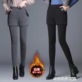 打底褲女秋冬加絨加厚外穿假兩件包臀裙褲高腰彈力黑色大碼保暖褲 雙12購物節