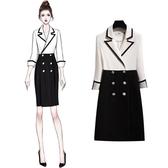 2019新款洋裝 優雅知性OL氣質白色拼接修身西裝領通勤職業連身裙 降價兩天