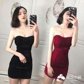 性感洋裝 夏季新款性感抹胸宴會禮服裙修身包臀裹胸打底連衣裙