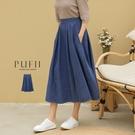 現貨◆PUFII-中長裙 鬆緊腰顯瘦牛仔...