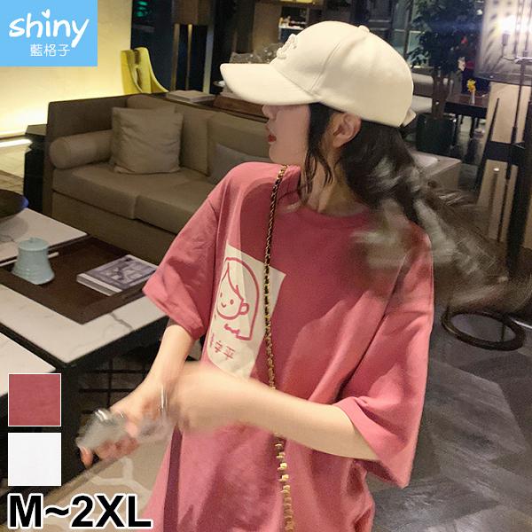 【V3108】shiny藍格子-極簡休閒.可愛卡通印花圓領寬鬆中長袖上衣
