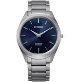 CITIZEN星辰低斂紋飾光動能手錶 BJ6520-82L 藍