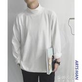 長袖T恤秋冬季半高領純色長袖T恤韓版寬鬆潮流港風連帽T恤