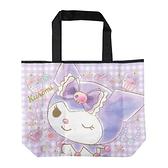 小禮堂 酷洛米 折疊尼龍環保購物袋 環保袋 側背袋 手提袋 (紫 大臉) 4990270-12818