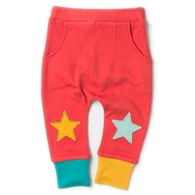 【英國 Little Green radicals】有機棉星星束口褲 - 紅 S18103