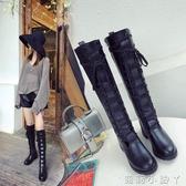 膝上靴長筒靴女秋新款黑色繫帶PU長筒靴中跟靴子粗跟側拉錬騎士靴女 蘿莉小腳ㄚ