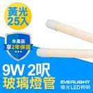 億光 T8 LED 玻璃燈管 9W 2呎 黃 25入