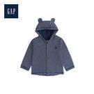 Gap男女嬰兒小熊圖案拼貼長袖連帽休閒上衣494289-海軍藍色