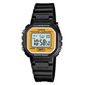 【CASIO】 小巧方形復古電子錶-黑X黃面(LA-20WH-9A)