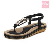 簡約線繩金屬珠飾舒適平底羅馬涼鞋 黑 *MOM*