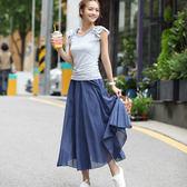 文藝復古麻棉鬆緊腰超大裙擺長裙S-XL 超值價
