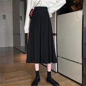 降價兩天 秋冬氣質黑色百褶半身長裙女 中長款高腰a字包臀裙子