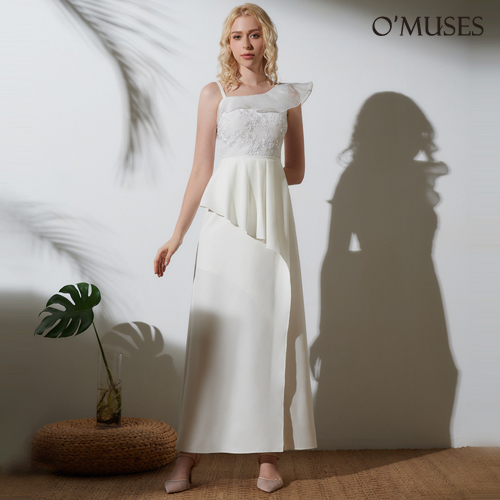 OMUSES 細肩帶荷葉領晚宴伴娘白色長禮服
