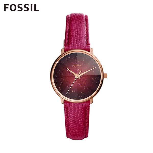 FOSSIL GALAXY 稜彩星系皮革女錶-莓紅 33MM ES4731