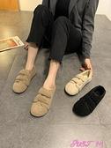 外穿毛毛鞋毛毛鞋女冬季外穿2021年新款保暖加絨棉鞋網紅羊羔毛一腳蹬豆豆鞋 JUST M