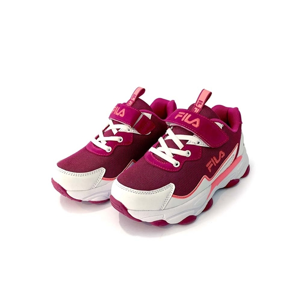 《FILA》兒童 復古運動鞋 白紫桃 3-J805U-125