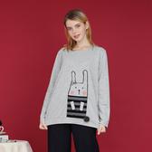 【中大尺碼】兔子配條印花毛球T