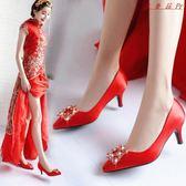 婚鞋女紅色尖頭細跟高跟鞋新娘鞋