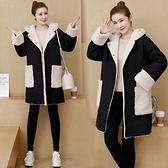 外套大衣冬裝大碼港風加厚羊羔毛正反兩面穿棉襖胖mm寬松顯瘦棉服M031依佳衣