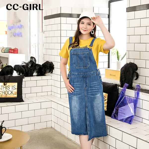 中大尺碼 不規則吊帶牛仔背心裙洋裝 - 適XL~4L《 19180H 》CC-GIRL