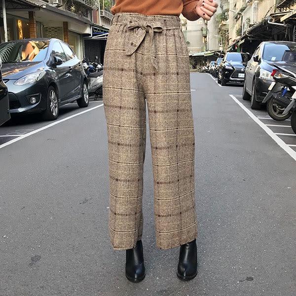 腰綁蝴蝶結 格紋 西裝褲 寬褲 闊腿褲 顯瘦 格子 長褲 九分 毛呢 高腰 韓 NXS