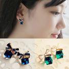 韓版  夾式耳環奧地利水晶蝴蝶結無耳洞耳夾-藍色/綠色。100元。【BeautyBox】X1509S1022