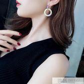 925銀針水鑚圓圈長款耳環氣質韓國個性百搭耳墜歐美夸張耳釘女 韓慕精品