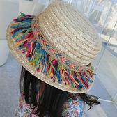 ※現貨【童】彩虹麻繩遮陽草帽/防曬沙灘帽【E297332】