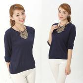 闕蘭絹 親膚舒適感100%蠶絲針織上衣-6611(藍)