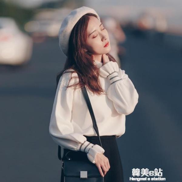 日系白色針織衫半高領毛衣女寬鬆外穿復古港風年秋冬新款上衣 韓美e站