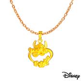 Disney迪士尼系列金飾 黃金墜子-心花開史迪奇款 送項鍊