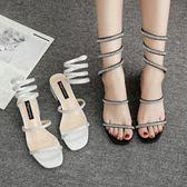 水鑽涼鞋 粗跟露趾中跟涼鞋 蛇形纏繞高跟鞋【多多鞋包店】z8209