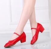 廣場舞蹈鞋 夏秋季新款女軟底中跟牛筋底銀紅色拉丁練舞鞋 BT1709『寶貝兒童裝』