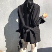 梨卡-好版型氣勢感綁帶西裝毛呢外套BR197