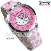 HELLO KITTY 凱蒂貓 公司貨 甜心時刻 滿滿愛心 童趣 卡通錶 女錶 真皮帶 淺紫x白 LK689LWPW