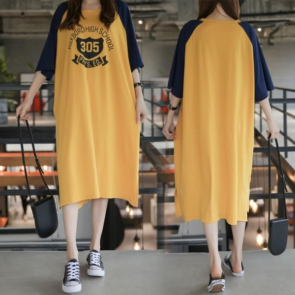 L-4XL胖妹妹大碼洋裝連身裙~大碼韓版寬松印花T恤圓領中長款連身裙3F061A衣時尚