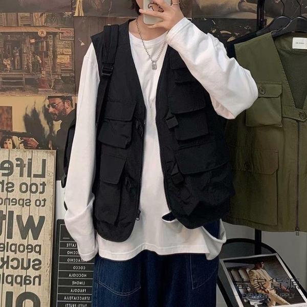 純棉馬甲背心男士潮流無袖機能多口袋工裝馬甲外套寬松【毒家貨源】
