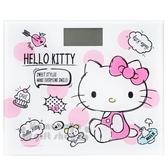 〔小禮堂〕Hello Kitty 方型玻璃電子體重計《粉.側坐》體重機.磅秤 4710891-16310