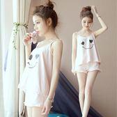 夏季性感睡衣女薄款吊帶背心短褲純棉韓版甜美可愛家居服兩件套裝 優帛良衣