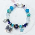 獨家設計 唯美奢華琉璃珠絨毛蝴蝶結水晶串珠手環 手鍊
