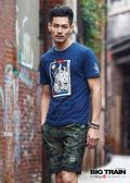 BIG TRAIN  綠斜紋迷彩仿丹寧短褲-男-B50183