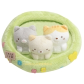 asdfkitty*日本san-x角落生物貓咪三兄弟絨毛玩偶置物盤/收納盤/擺飾/裝飾品-日本正版商品