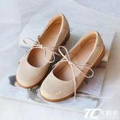 娃娃鞋/可愛圓頭軟妹小皮鞋真皮溫柔仙女鞋日系淺口單鞋系帶